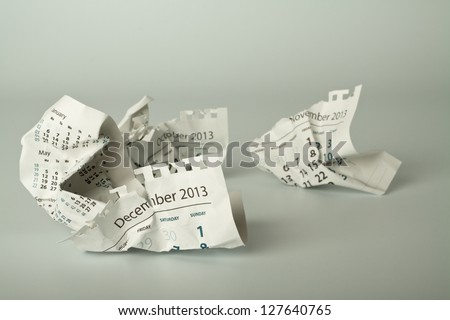 Calendar sheet. Crumpled paper on the floor