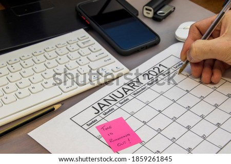 Photo of  Calendar showing the date of the end of the Brexit transition date, with a note saying time is running out for Brexit deal. High quality photo