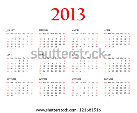 Calendar 2013. Template for your design. Weeks start on Sunday