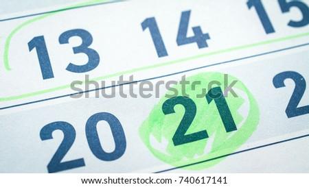 calendar, twenty-one, twenty, fifteenth number, green marker highlights #740617141
