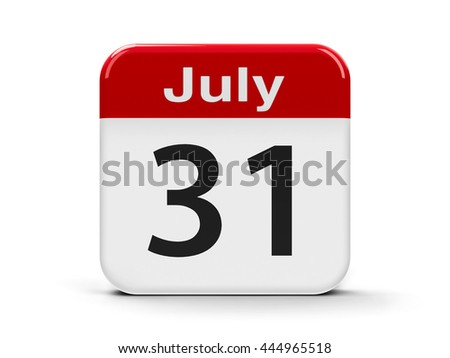 Calendar web button - The Thirty First of July, three-dimensional rendering, 3D illustration Stock photo ©