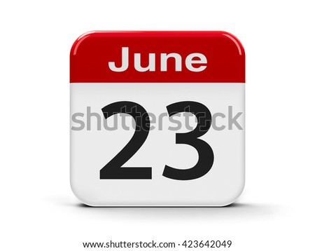 Calendar web button - The Twenty Third of June - International Olympic Day and United Nations Public Service Day, three-dimensional rendering, 3D illustration