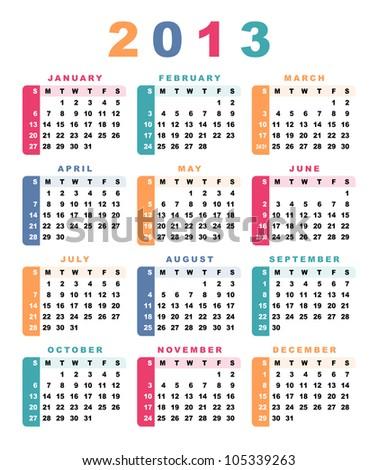 Calendar 2013 (week starts with sunday).  Raster version.