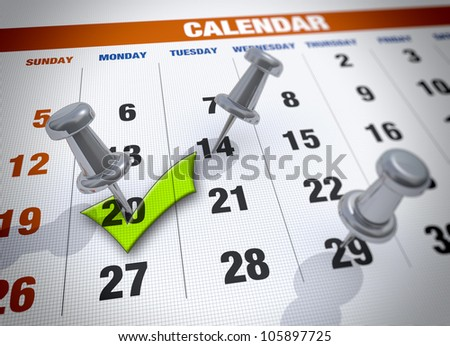Calendar with check mark