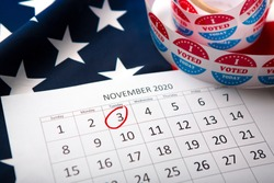 Calendar With Election Day 2020 in the USA, flag of America, 3 of November