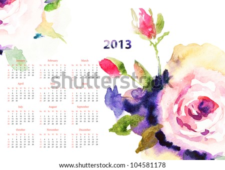 Calendar with Roses flowers for 2013