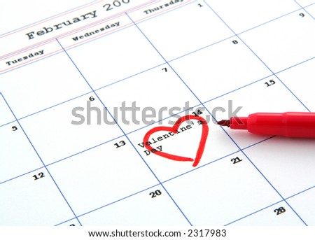 calendar with valentine's day