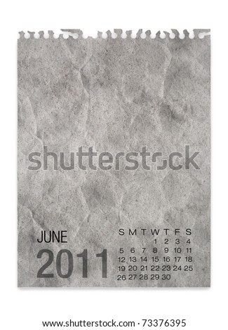 Calendar 2011 wrinkle Note paper on white background June