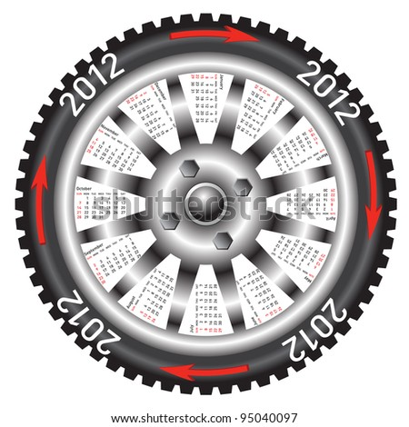calendar 2012 year  wheel car