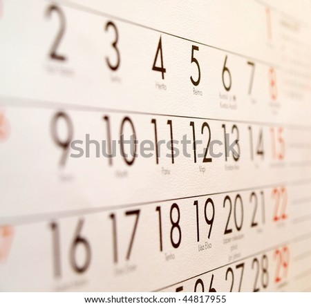 Calender - Organizer viewed from the side, focus on the center