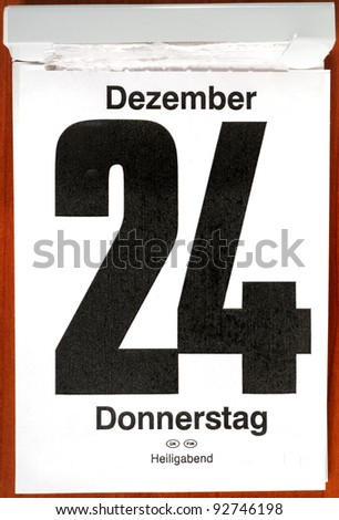 Calender with December 24th