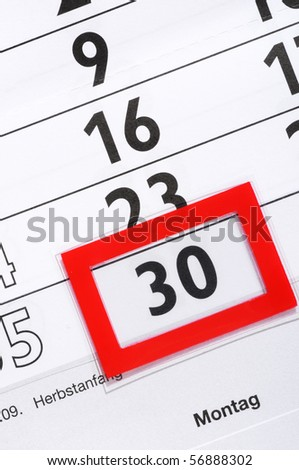 Calender with marked 30th