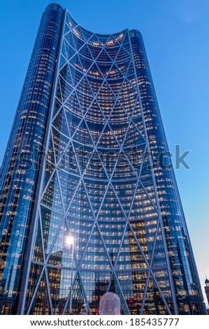 CALGARY, CANADA - DEC 24: The Bow Tower on December 24, 2013 in Calgary, Alberta Canada. The Bow is the newest and tallest skyscraper in Canada outside Toronto and home to Encana and Cenovus.