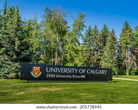CALGARY, CANADA - JULY 13: The University of Calgary entrance sign and arch on July 13, 2014 in Calgary, Alberta Canada. The sign and arch are the main feature marking the entrance to campus.