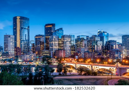 Calgary skyline at night with Bow River and Centre Street Bridge. #182532620