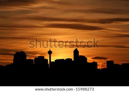 Calgary skyline at sunset with beautiful sky illustration