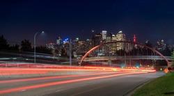 Calgary Skyline with Light Streaks on Bow Trail
