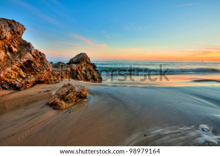 california beach in sunset