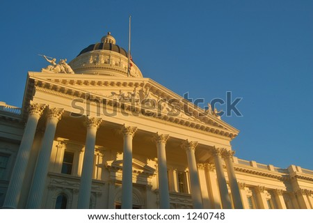 California Capitol building in Sacramento illuminated by the evening sun