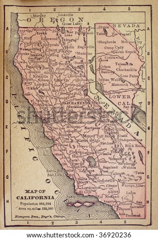 California, circa 1880. See the entire map collection: http://www.shutterstock.com/sets/22217-maps.html?rid=70583