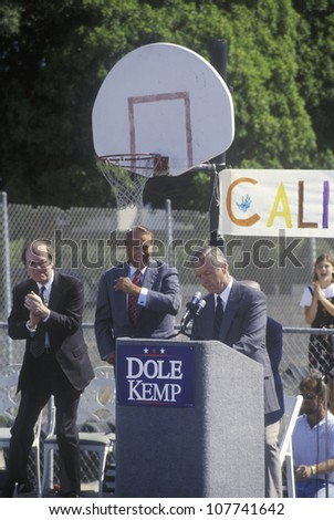 California Governor Pete Wilson speaks at a rally for 1996 Republican presidential candidate Bob Dole at Temple Christian School in Ventura, California