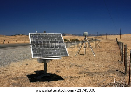 California highway with solar panel
