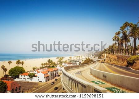 California incline in Santa Monica with amazing view on Pacific ocean coastline