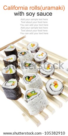 California Roll with Avocado and Salmon, Cream Cheese and Raw Salmon inside. on wooden grid . isolated over white background . Maki Sushi and Sashimi - stock photo
