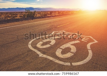 California Route 66 and Mojave National Preserve Landscape. United States of America. #759986167