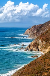 California's scenic coastline viewed from the colorful cliffs of the Point Reyes National Seashore north of San Francisco