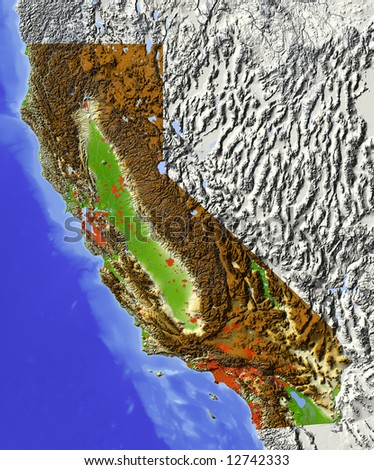 California. Shaded relief map.  Shows major urban areas and rivers, surrounding territory greyed out. Colored according to relative terrain height. Clipping path for the state area included.