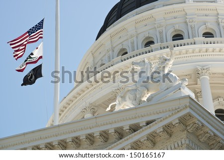 California State Capitol Building Flags
