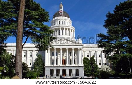 California state capitol building, front view on summer day