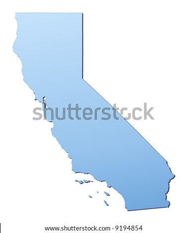 California(USA) map filled with light blue gradient. High resolution. Mercator projection.