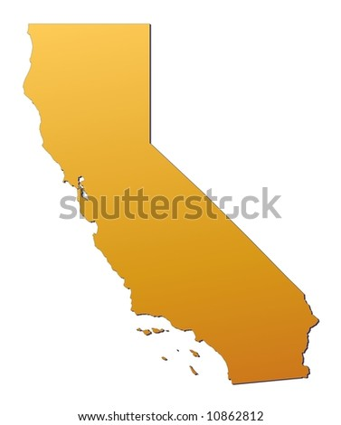 California (USA) map filled with orange gradient. Mercator projection.