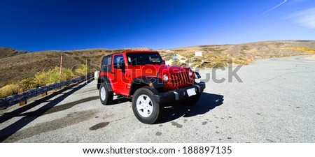 CALIFORNIA, USA OCTOBER 20, 2012: Photo of jeep Wrangler at Yosemite Park, USA. Wrangler is a compact four wheel drive off road and sport utility vehicle, manufactured by American automaker Chrysler.