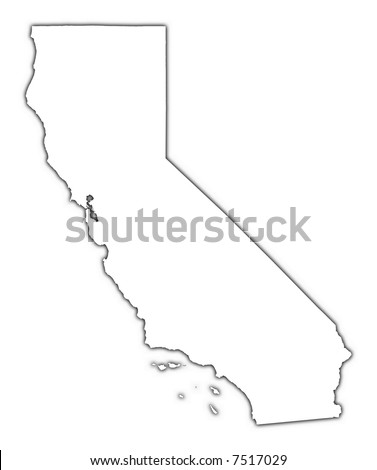 California (USA) outline map with shadow. Detailed, Mercator projection.