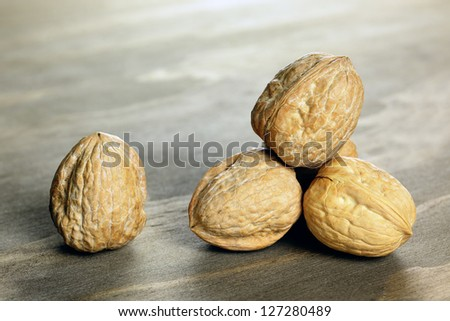 California walnuts on a wooden chopping board