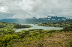 calima lake in colombia on a cloudy day