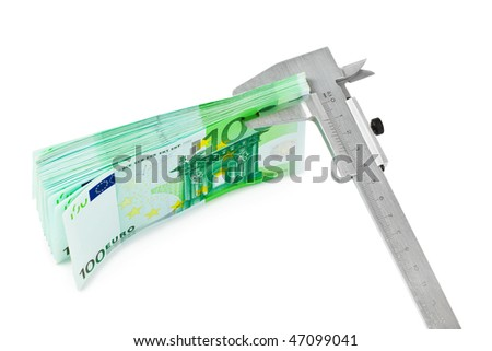 Caliper and money isolated on white background