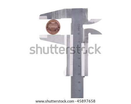 Calipers with American one cent over white background