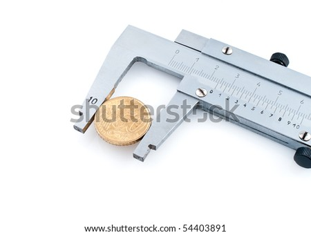 Calipers with euro coin  isolated on white background