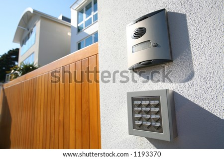 Call box and digitally coded gate lock on new house