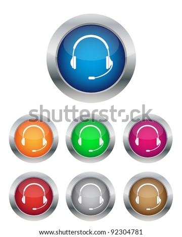 Call center buttons in various colors. Vector available.