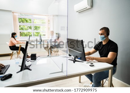 Call Center Customer Service Agents Wearing Face Masks