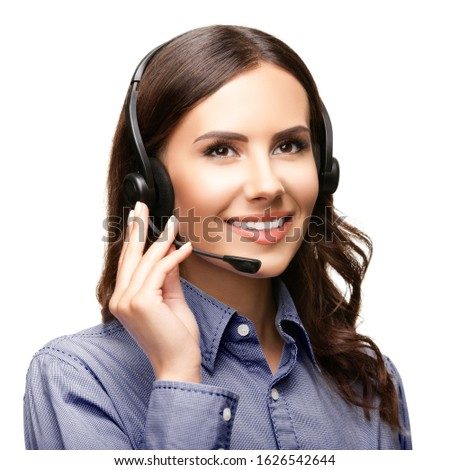 Call center customer support phone operator or sales agent in headset, isolated over white background Stock foto ©