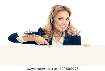Call center. Customer support service femalephone operator in headset showing signboard with copyspace area for text or advertise slogan, isolated over white background.
