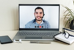 Call center, 247 help desk or support concept. Video call conference or telemarketing.
