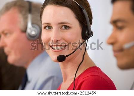 Call Center Lady on Headphone