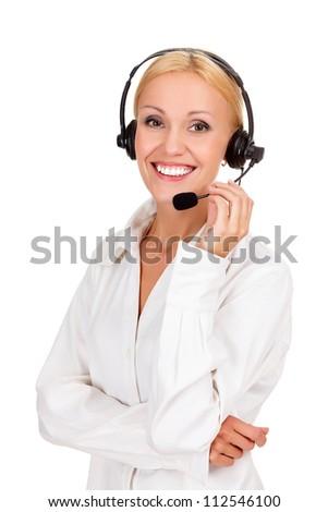 call center operator against white background.